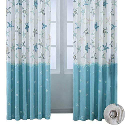 - BROSHAN Cotton Linen Curtain Drapes, Modern Abstract Nautical Blue Ocean Starfish Room Window Darkening Curtain Panels, Top Grommet Treatment Draperies Thermal Insulated, 57 W x 96 L Inch, 1 Panel