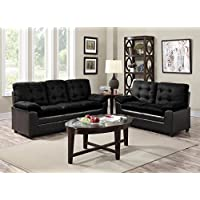 GTU Furniture 2-Tone Microfiber Sofa & Loveseat Set, 5 Colors Available (Black)