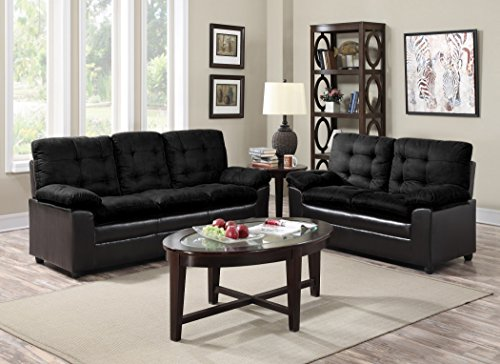 (GTU Furniture 2-Tone Microfiber Sofa & Loveseat Set, 5 Colors Available (Black))