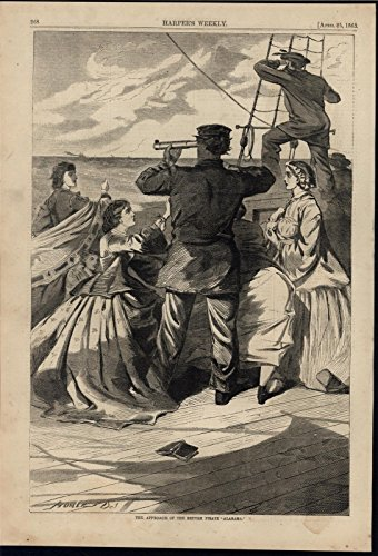 (British Built Raiding Ship Pirate Alabama Homer 1863 antique Civil War print)