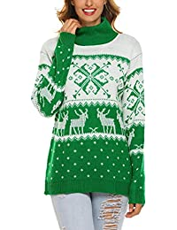 Women Ugly Christmas Reindeer Snowflakes Turtleneck Sweater Pullover