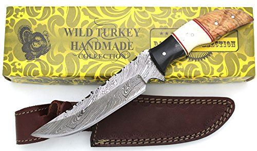 (Wild Turkey Handmade Damascus Steel Collection Full Tang Bone-Horn-Wood Handle Fixed Blade Knife w/ Leather Sheath Outdoors Hunting Camping Fishing)