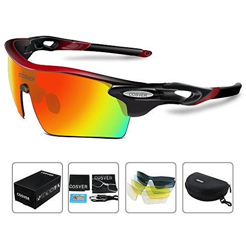 COSVER Polarized Sport Sunglasses for Mens Women Cycling Running Fishing with 5 Interchangeable Lenses Glasses (Black&Red, - Replacement Sunglasses Glass