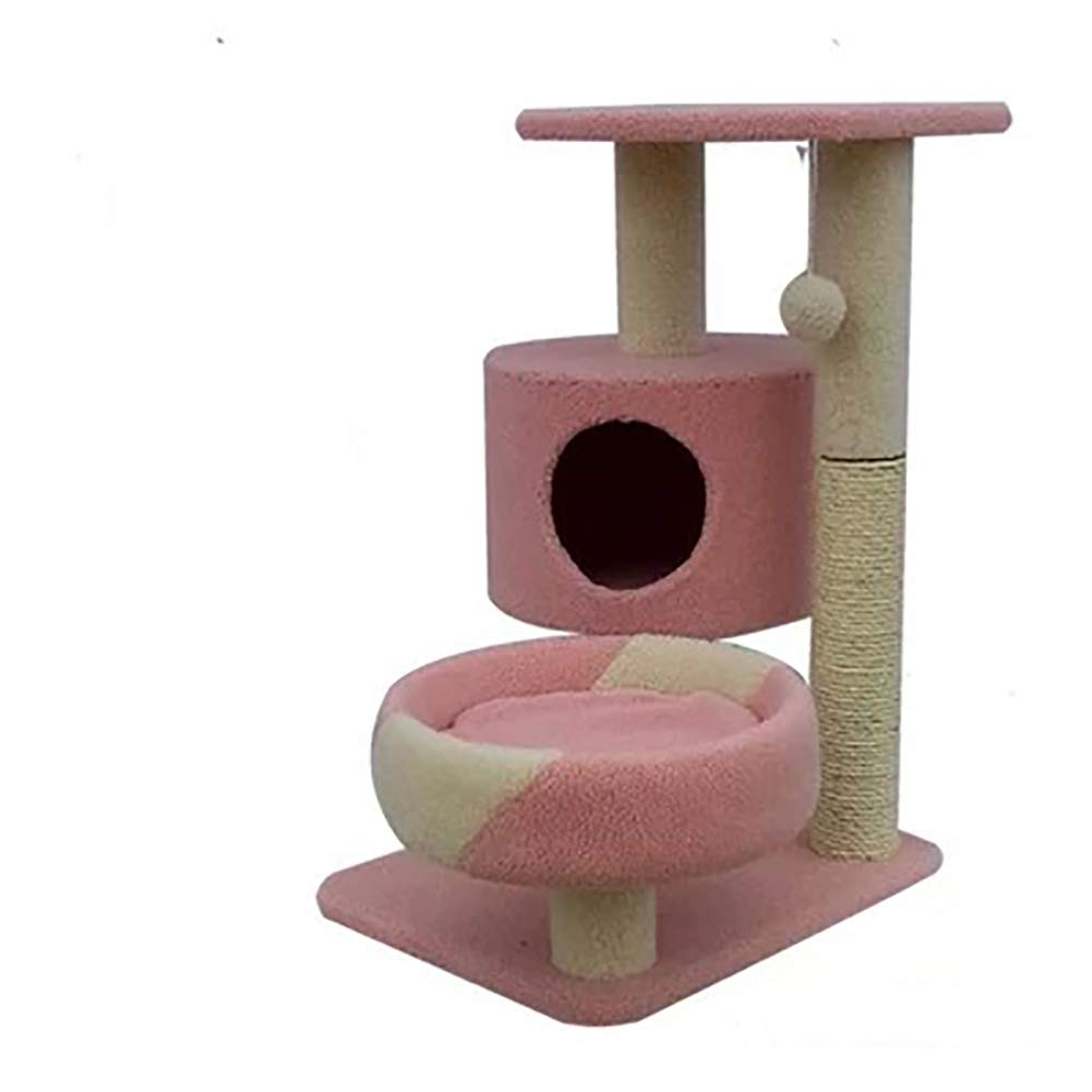 Pink Cat Tree House,pet Kitty Play House Comfortable Round Bed Spacious Viewing Deck Soft and Comfortable Sisal Rope Pillar Durable and wear Resistant,Pink