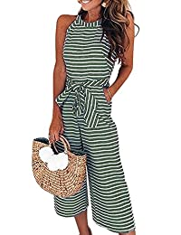 69a0d37d8717 Assivia Womens Sexy Striped Spaghetti Strap Backless Wide Leg Jumpsuit  Rompers