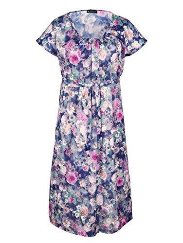 mit Blumendruckmuster Gartenkleid m Blau collection Damen Aufwendigem OFTtqv