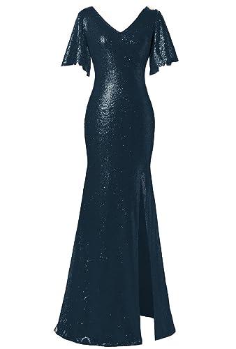 JYDress Women's Sequin V-Neck Evening Dress Flutter Sleeve Floor-Length Gown 2017