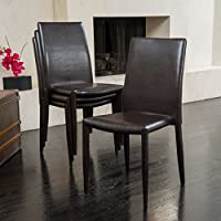 Unique Christopher Knight Home Comstock Bonded Leather Stackable Dining Chair (Set of 4) Kitchen Furniture Brown