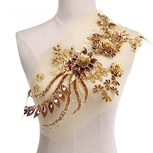 Feepop 3D Flower Applique, Beaded Sequins Flower LACE patch Bridal Wedding Dress Embossed Beading Embroidery lace Appliques Motif Sewing Craft (gold)