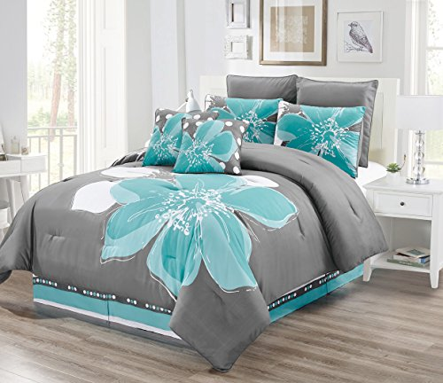 8 - Piece Aqua Blue, Grey, White Floral Comforter Set Queen Size Bedding + Accent Pillows (Pieces Teal Accent)