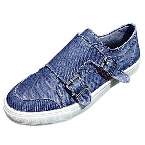 TnaIolral Women Peas Shoes Summer Flat-Bottomed Casual Single Shoes Zipper Beach Shoes (US:5.5, Blue) ()