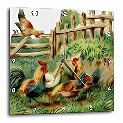 3dRose dpp_104625_2 Vintage Digital Oil Painting Roosters Gather at The Farm-Wall Clock, 13 by 13-Inch