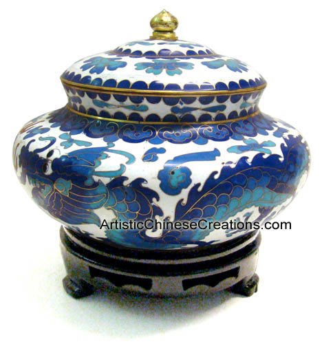 Cloisonne Jar (Chinese Art / Chinese Collectibles: Chinese Cloisonne Jar - Twin Dragons)
