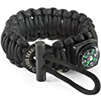 550 cord bracelet fire starter - Tactical Paracord Survival Bracelet S Series - Essential Emergency Gear - Adjustable, Fire Starter Kit, Compass, Military 550 Cord For Bug Out Preppers Everyday Carry