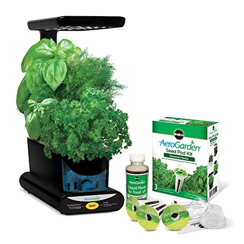[Miracle-Gro AeroGarden Sprout LED with Gourmet Herb Seed Pod Kit, Black] (Gourmet Garden Herbs)