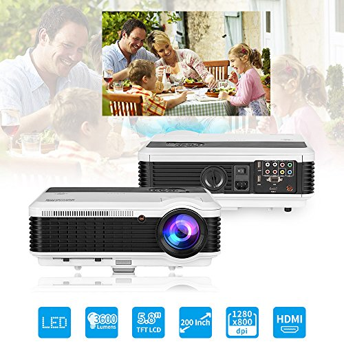 WXGA WiFi LCD Video Projctor Full HD 1080P 3600 Lumen HDMI-in Airplay Miracast Wireless for iPad Smartphone Laptop PC DVD Player Playstation, LED Home Cinema Projector Outdoor Theater Halloween Proje by EUG (Image #1)