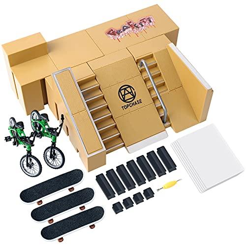 DACOOL 스케이트 공원 장비 FINGERBOARD 램프-2 손가락 자전거 3 스케이트 보드와 스케이트 공원 여러 스케이트 공원 모델은 손가락을 위한 스케이트보드 훈련 교육과 재미를 손가락 어린이 장난감 선물