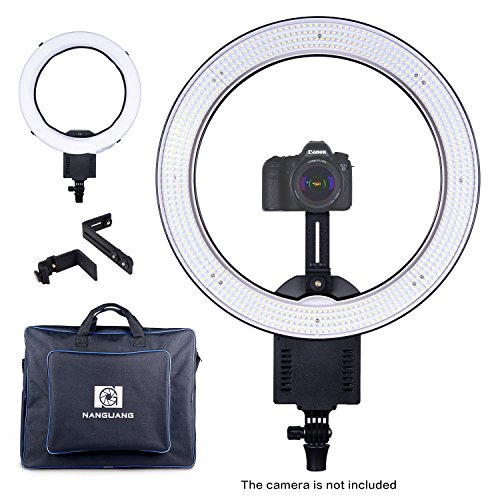 NanGuang 19'' LED Ring Light Dimmable Ring Light with Adjustable Camera Bracket Dual-purpose Carrying Bag for Makeup Youtube Video Studio Shoot Selfie and More by NanGuang