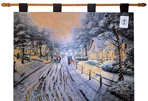 Cheap  Manual Hometown Christmas Tapestry Wall Hanging By Thomas Kinkade, HWTHCM, 36x26