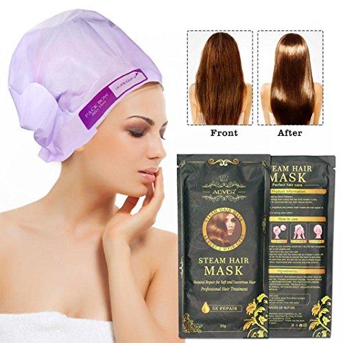 Hair Mask, Fheaven Aliver Automatic Heating Steam Hair Mask Keratin Argan Oil Treatment Hair by Fheaven