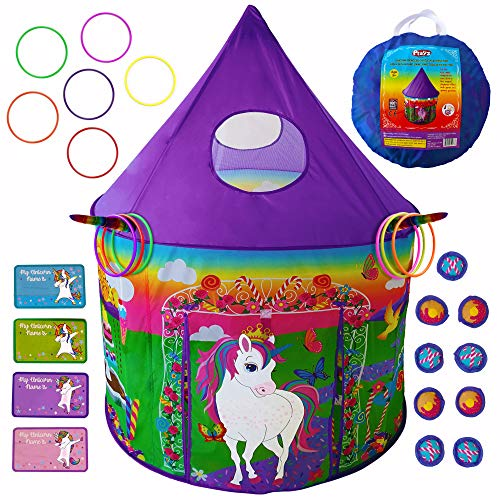 Playz Unicorn Princess Castle Play Tent for Girls with Unicorn Board Game, Ring Toss, & Tic Tac Toe - Indoor & Outdoor Playhouse Set for Kids Birthday, Party Favors, & Gifts (Games For Girls Play)