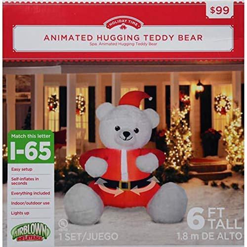 Holiday Time Christmas Inflatable Animated Hugging Teddy Bear in Santa Suit