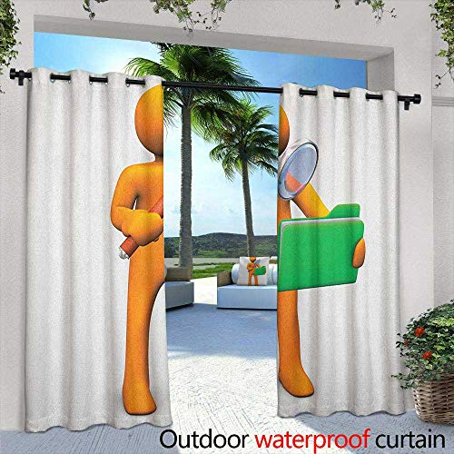 nge Grommet Outdoor Curtains Orange Man with Magnifying Glass Searhcing a Green Folder Waterproof Patio Door Panel 72