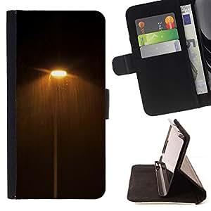 For HTC One M8 Case , Noche Oscura Luces Calle Caliente Amarillo- la tarjeta de Crédito Slots PU Funda de cuero Monedero caso cubierta de piel