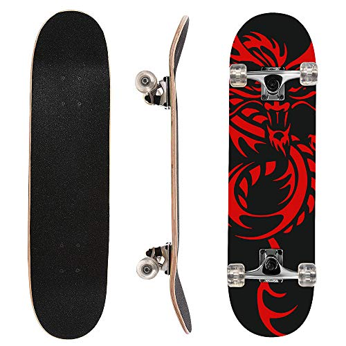 ChromeWheels 31 inch Skateboard Complete Longboard Double Kick Skate Board Cruiser 8 Layer Maple Deck for Extreme Sports and Outdoors ()