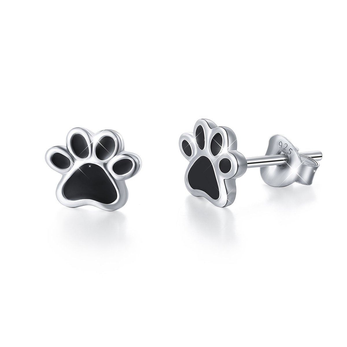 S925 Sterling Silver Puppy Dog Cat Pet Paw Print Stud Earrings