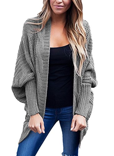 Eiffel Women's Chunky Cardigan Sweaters Oversized Baggy Knitting Ribbed Tops Outerwear with Pocket Grey Size - Petites Dressing Knit