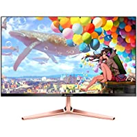 SUVOM 23.6 Inch LED Widescreen Monitor Full HD (1920x1080 DVI VGA) (Rose-gold Stand)
