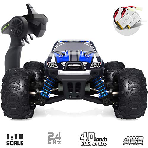 VCANNY Remote Control Car, Terrain RC Cars, Electric Remote Control Off Road Monster Truck, 1: 18 Scale 2.4Ghz Radio 4WD Fast 30+ mph RC Car, with 2 Rechargeable Batteries ()