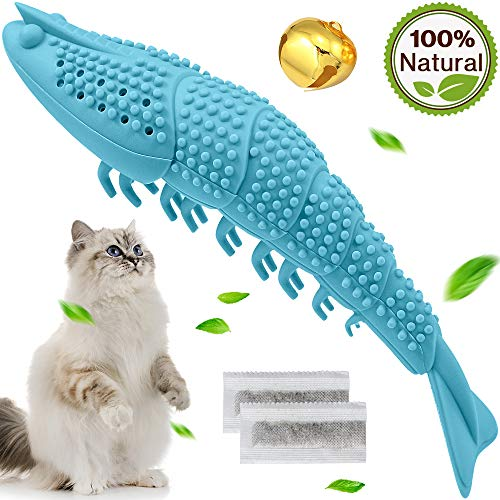Wisedom Cat Toothbrush Catnip Toy Dental Care Refillable Catnip Interactive Playing Feeding Toy with Bell for Kitten…