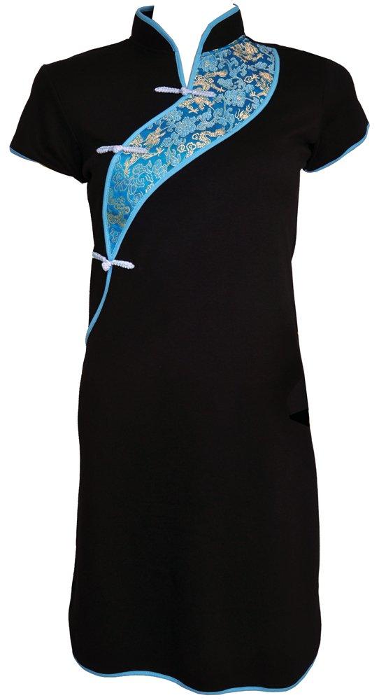 Amazing Grace Elephant CO. Chinese Tunic Dress Modern Style Qipao Cheongsam Dress (XX-Large, October Sky Black)