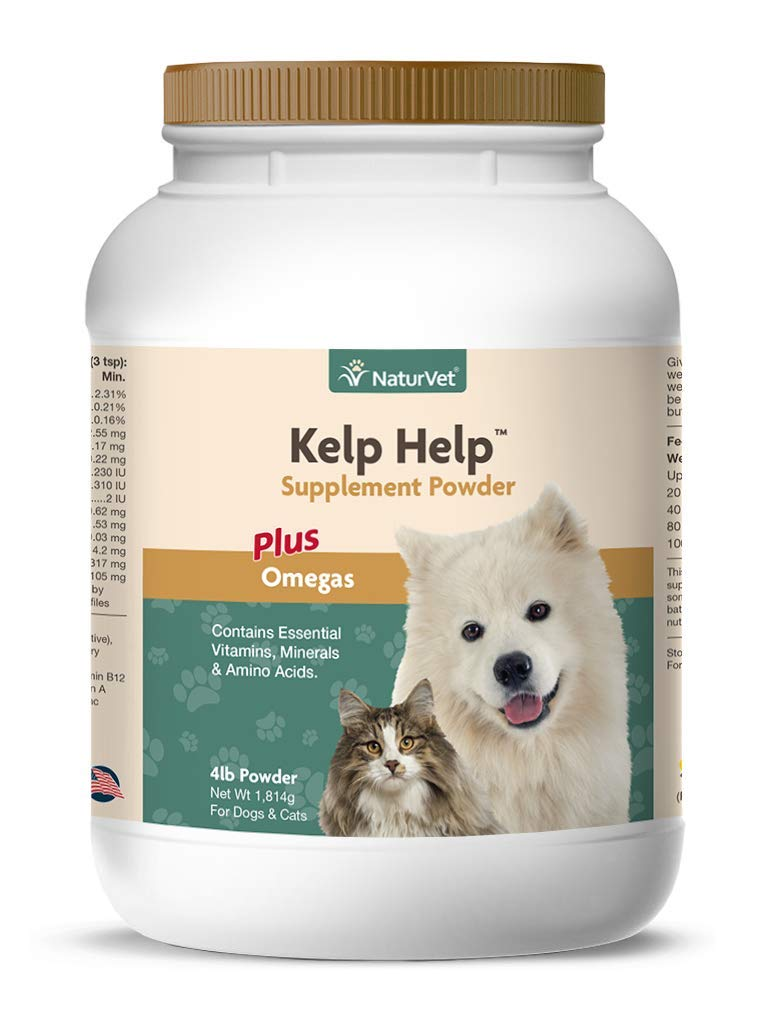 NaturVet - Kelp Help Supplement Powder - Plus Omegas - Supports Healthy Skin & Glossy Coat - Enhanced with Essential Vitamins, Minerals & Amino Acids - for Dogs & Cats (4 lb Powder) by NaturVet