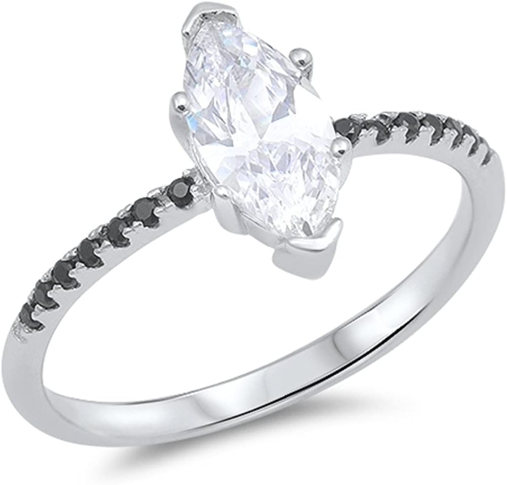CloseoutWarehouse Round Cut Cubic Zirconia Solitaire Ring Sterling Silver