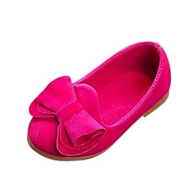 Hunpta Toddler bébé filles doux enfants Arc Flats décontracté Marche Chaussures de princesse (21, Rose vif)