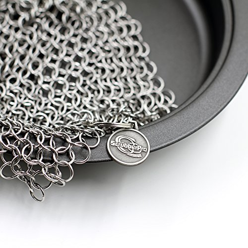 ScrubberPro Throw Iron Chainmail Scrubber - The Ultimate Solution for Cleaning (Pre)Seasoned Cast Iron Cookware - XLarge, 8x6 Inch, Handcrafted from Stainless Dagger