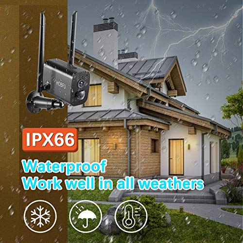 HOBFU Outdoor Security Camera, Wireless Rechargeable Battery Powered Camera 10400mAh, 1080P WiFi Surveillance Camera for Home with Night Vision, Two Way Audio, PIR Motion Detection, IP65 Waterproof
