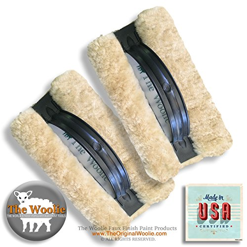 The Woolie ORIGINAL & OFFICIAL Faux Finish Paint Technique 100% Sheepskin Pad VALUE 2-PACK (BLK) by The Woolie