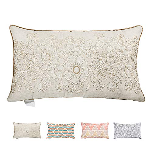 (Hahadidi Throw Pillow Covers for Couch/Bed/Sofa Home Decorative Cushion Cases Flower Crewel Embroidery Pillowcases European Geometric Cotton Canvas Nature Color 14 x 24 Inch(Only One Pillow Cover))