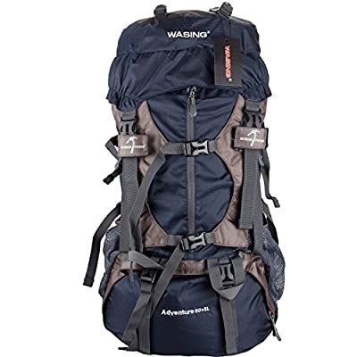 WASING 55L Internal Frame Backpack Hiking Backpacking Packs for Outdoor Hiking Travel Climbing Camping Mountaineering with Rain Cover WS-55Lpack