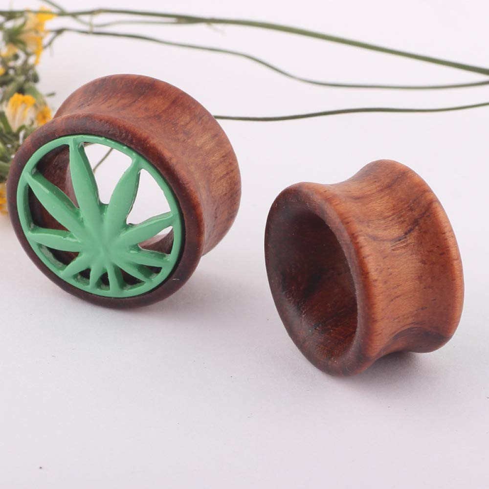 Ear Plugs Wood Hollow Maple Leaf Ear Gauges Body Piercing Jewelry 1 Pair (Brown Green, 8 mm) by Acccity (Image #3)