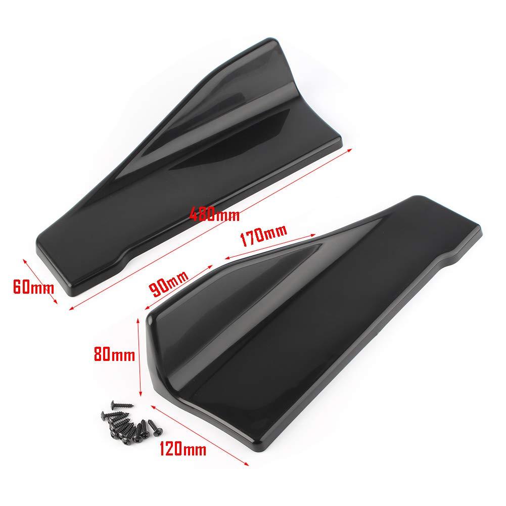 48CM Rear Side Exteriors Bottom Line Extensions Splitter Lip Car Diffusers Black GZYF Pair Universal Side Skirts