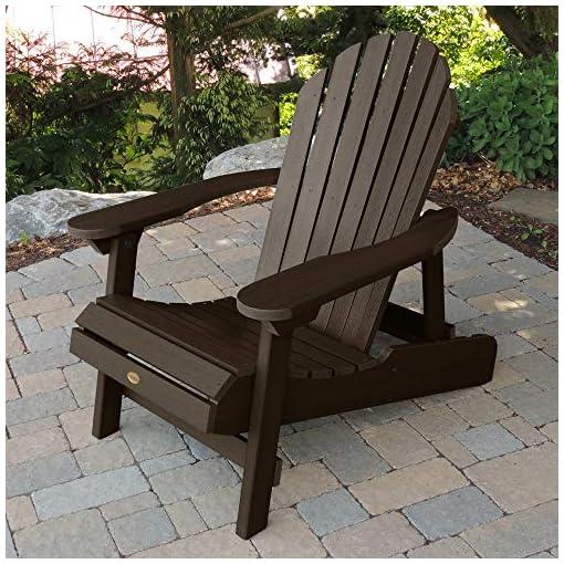Highwood AD CHL1 ACE Folding and Reclining Hamilton Adirondack Chair, Adult Size, Weathered Acorn