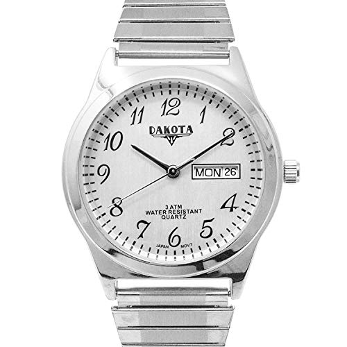 Dakota Easy to Read Unisex 35mm Large Face Day/Date Twist Stainless Steel Expansion Stretch Band Water Resistant Watch (Silver with Silver Arabic Dial) ()