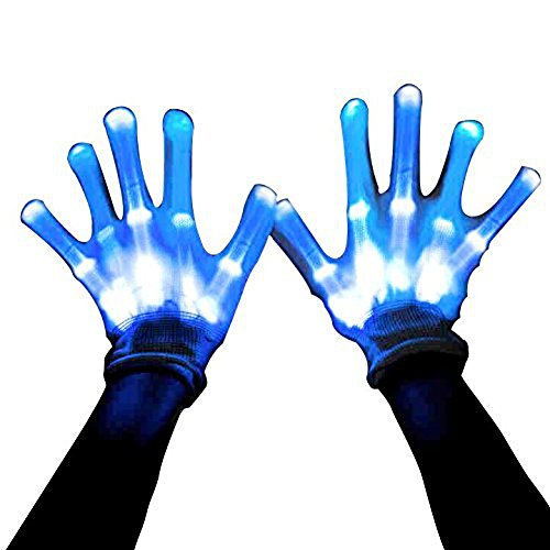 [Led Skeleton Gloves, 12 Color Changeable Light Up Shows Halloween Costume, Novelty Christmas Gift] (Biker Teen Costumes)