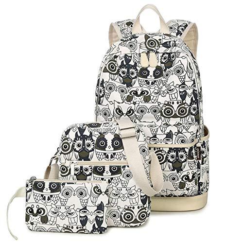 Jeunes à pour en Sac sac Set dos bookbags Sacs filles à à Bagpack animaux dos Hibou Black Impression White Femmes toile VHVCX dos école Z60nHxw