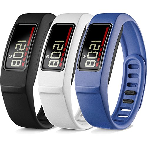 iBREK Compatible with Garmin Vivofit 2 Replacement Bands with Metal Clasp for Women Men Small Large(No Tracker)(3 Pack: Black, White, Blue, Small (6.2-8.2 in))